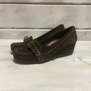 MARC FISHER | Brown leather wedge heels Size 6